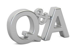 Q&A silver inscription, 3D rendering isolated on white background